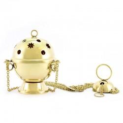 Turibolo sfera metallo dorato 14 cm Diametro 10 cm