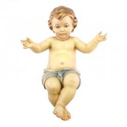 Gesù Bambino braccia aperte in legno dipinto 40 cm