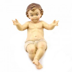 Gesù Bambino braccia aperte in legno dipinto 12 cm