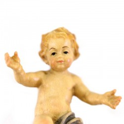 Baby Jesus in colored wood with cloth 5 cm
