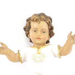 Wooden Baby Jesus with ivory vest IHS 36 cm