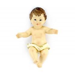 Gesù Bambino resina pannetto bianco 14x20 cm
