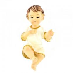 Gesù Bambino in resina con vestina avorio 6 cm