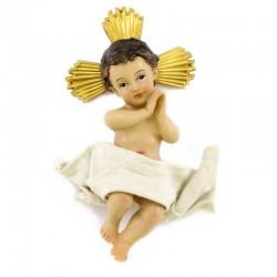 Gesù Bambino in resina con aureola 11 cm
