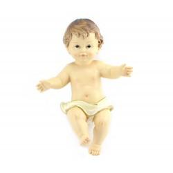 Gesù Bambino resina pannetto bianco 20x28 cm
