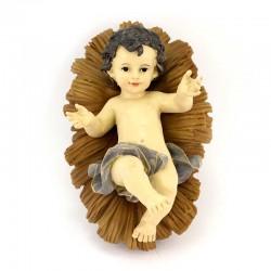 Gesù Bambino in resina colorata con mangiatoia 16x24 cm