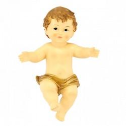 Gesù Bambino resina pannetto dorato 14x20 cm