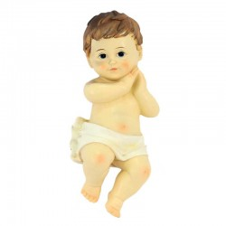 Gesù Bambino mani giunte resina colorata 15,5 cm