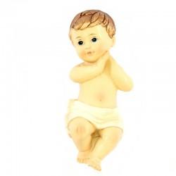 Gesù Bambino mani giunte resina colorata 9,5 cm