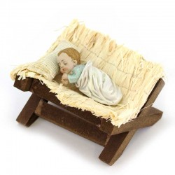 Colored Resin Baby Jesus with Manger 11 cm