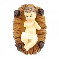Gesù Bambino in resina colorata con mangiatoia 3,5x5,5 cm