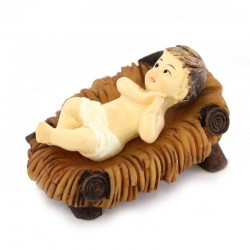 Colored Resin Baby Jesus with Manger 3.5x5.5 cm