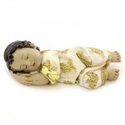 Gesù Bambino dormiente in resina veste oro 12,5 cm