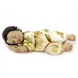 Gesù Bambino dormiente in resina veste oro 20 cm