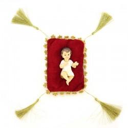 Gesù Bambino in resina colorata su cuscino 10 cm