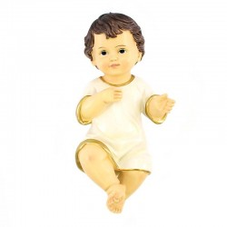 Gesù Bambino in resina con vestina bianca 18x35 cm
