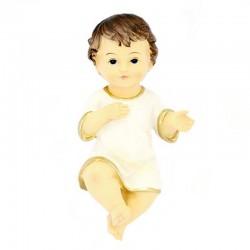 Gesù Bambino in resina con vestina bianca 8x15 cm