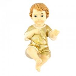 Gesù Bambino in resina con vestina dorata 3x6,5 cm