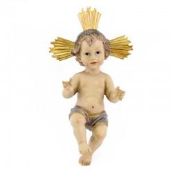 Gesù Bambino con aureola in resina colorata 18 cm