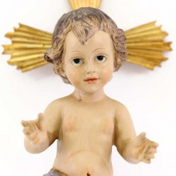 Colored Resin Baby Jesus with Halo 18 cm