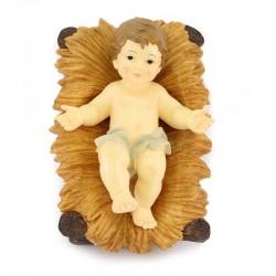 Baby Jesus in cradle colored resin 41 cm