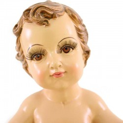Gesù Bambino braccia aperte occhi di vetro 34 cm