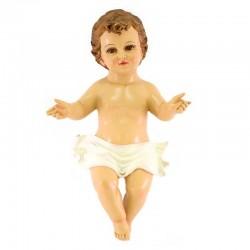 Gesù Bambino braccia aperte occhi di vetro 43 cm
