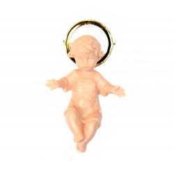 Gesù Bambino plastica color carne e aureola dorata 5 cm