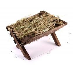 Wooden Cradle with Hay 11x8x15 cm