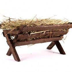 Wooden Cradle with Hay 18x13x25 cm