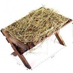 Wooden Cradle with Hay 21x16x29 cm