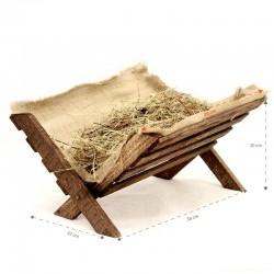 Culla Gesù Bambino in legno con fieno 32x20x38 cm