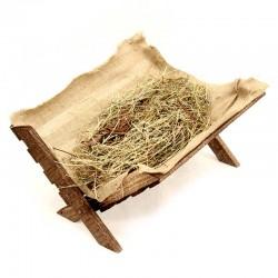 Wooden Cradle with Hay 32x20x38 cm