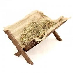 Wooden Cradle with Hay 35x26x49 cm