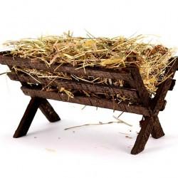 Wooden Cradle with Hay 15x11x20 cm