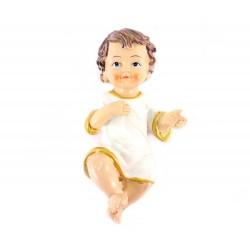 Gesù Bambino in resina con vestina bianca 15 cm