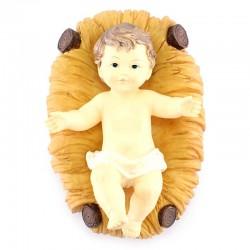 Gesù Bambino con culla in resina colorata 24 cm