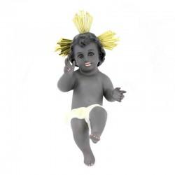 Gesù Bambino nero in gesso 25 cm