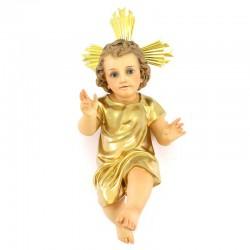 Gesù Bambino pasta legno vestina dorata 50 cm