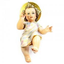 Gesù Bambino colore pasta di legno e occhi vetro 40 cm