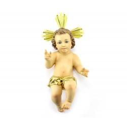 Gesù Bambino pasta legno con pannetto 40 cm