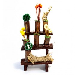 Wood Stand for Nativity with Wax Flowers 9x5x5 cm