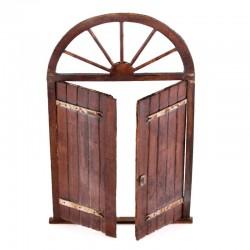 Portone per presepe in legno con arco 13x22 cm