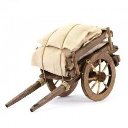 Carro con sacchi per presepe 10x18x8 cm