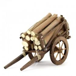 Carro con legname per presepe 10x18x8 cm