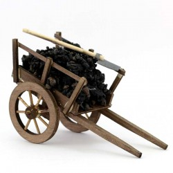 Cart with Coal and Shovel for Nativity 10x18x8 cm