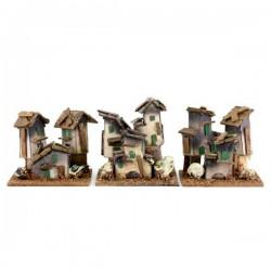 Casetta per presepe in cartoncino e legno 8x7 cm