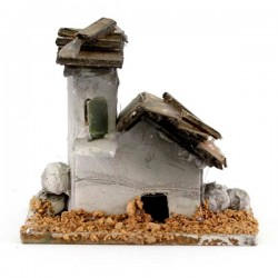 Cardboard and Wood House for Nativity 5.5x5 cm