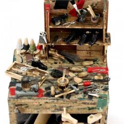 Wooden cobbler bench for Nativity 18x30x16 cm