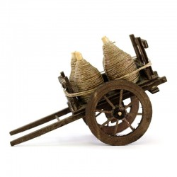 Handcart with demijohns for nativity scene 10x16x8 cm